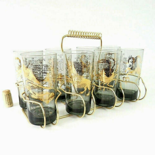MCM Horoscope Astrology Barware Glasses set of 8 w Caddy Smoked Glass Gold Foil