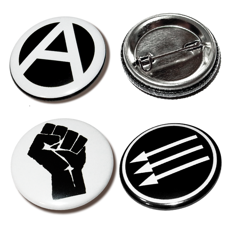 Anarchie, Raised Fist, and Iron Front-Buttons, Anstecker, 25mm, Widerstand, Antifa