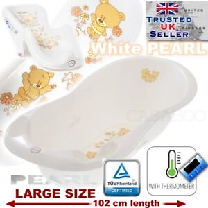 SET LARGE 102cm  BABY BATH TUB with therm. + SUPPORT SEAT chair WHITE TEDDY