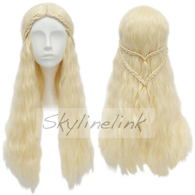 Game of Thrones Daenerys Targaryen Perücke wig Cosplay Kostüm lang blond Damen