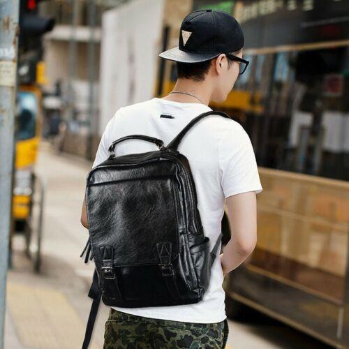 men s leather backpack shoulder bag weekender