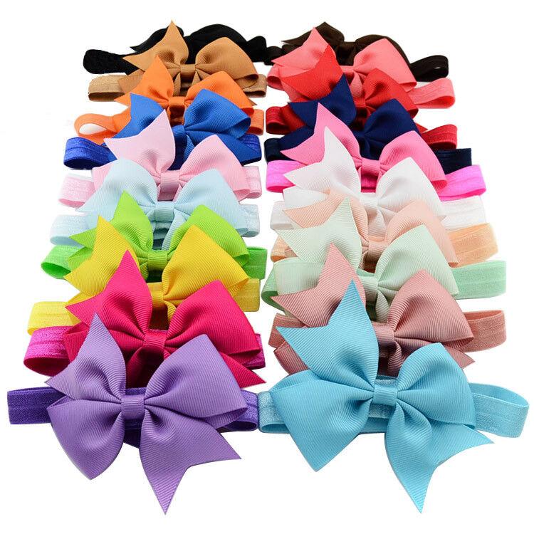 20pcs 4 Inch Grosgrain Ribbon Hair Bows Headbands for Baby G