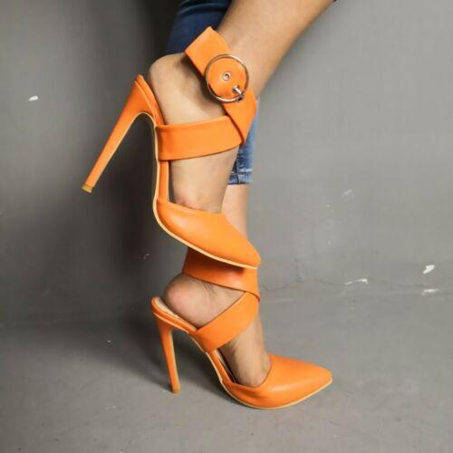 Occident Womens Pointy Toe High Heel Sandal Cross Strap Slingback Clubwear Shoes