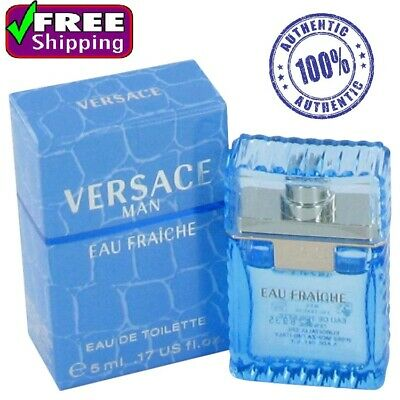 100% Original Versace Man Cologne Blue Men Perfume Eau Fraiche EDT 0.17 oz 5 ml
