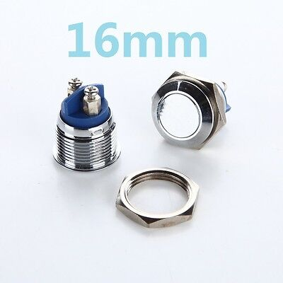 1pcs 16mm L32 Plane Stainless Steel Metal Push Button Switch Car Horn Doorbell
