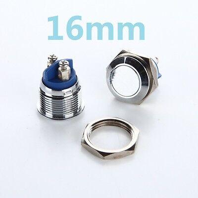 1pcs 16mm L32 Plane Stainless Steel Metal Push Button Switch Car Horn Doorbell