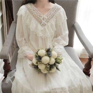 Ladies Girl Lolita Victorian Vintage Sleepwear Ruffle Lace Nightdress Nightwear
