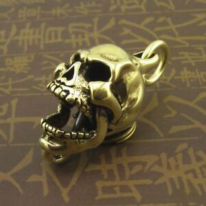 Brass Active Joint Skull Metal Keychain Fob Pendant Mens Key Ring Chains Charms