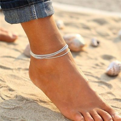 Silver Ankle Bracelet 4 Layer Women Anklet Adjustable Chain Beach Alloy Jewelry