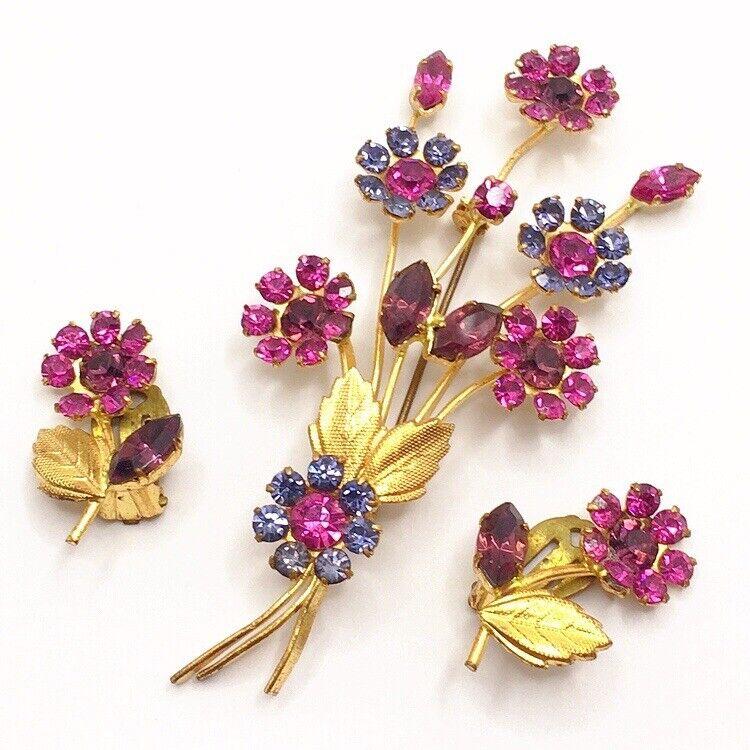 🌸Vintage Pink Purple Rhinestone Flower Bouquet Brooch Earrings Set Lot S Jew