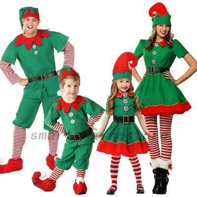 Kids Girls Boys Men Women Family Costume Santa Elf Christmas Fancy Dress