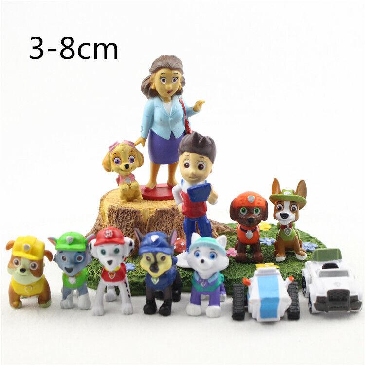 9 STÜCKE Puppy Puppy Paw Patrol Dogs Bewegliche Gelenke Figur Auto Spielzeug Set