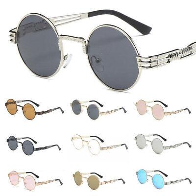 Retro Sonnenbrille Steampunk Brille Vintage Runde Metallrahmen für Frauen Männer
