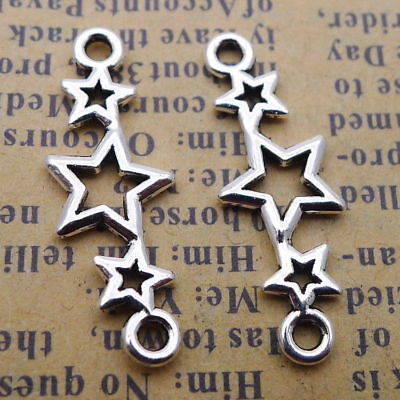 20Pcs DIY Charms Hollow Star Connector Beads Pendant Tibetan Silver 10x25mm