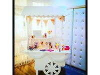 Sweet Cart Hire. 5ft led love letters. Chair sash hire. Wedding. Christening. Party hire