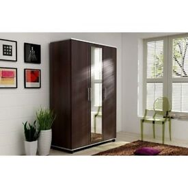 Brand new Three Door German Design Tommy wardrobe with Center Mirror Option