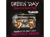 4 x Green Day standing tickets, Sheffield Arena, Monday 3rd July 2017