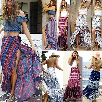 Women Dashiki Hippie Hight Waist Maxi Skirt Pleated Beach Long Casual Boho Dress