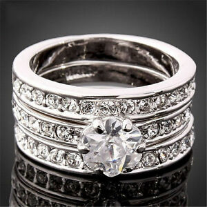 3-In-1 CZ Engagement Wedding Ring Set White Gold Filled 5.5 -New