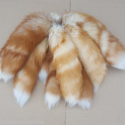 10pcs/Lot Large Luxury  Real Fox Tail Cosplay Keychain Fur Tassel Bag Tag Charm