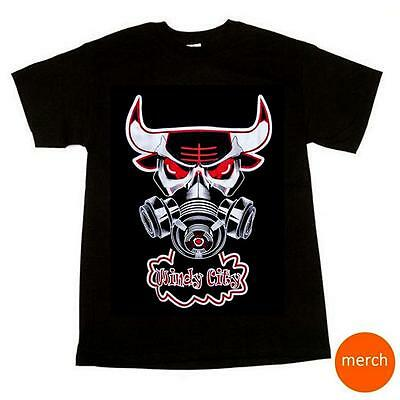Chicago Bulls NBA Basketball Windy City Steaming Gas Mask Jordan Black T-Shirt - Windy City