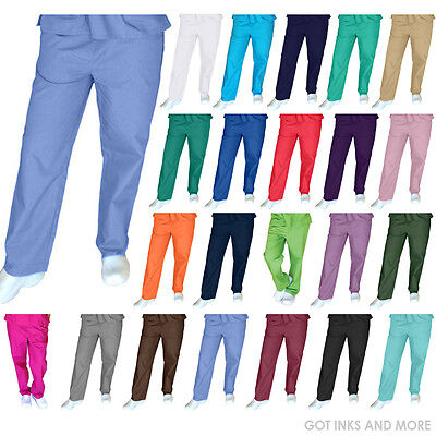 Unisex Men/Women Drawstring Back Elastic 4 Pockets Uniform Scrub Pants Bottom ()