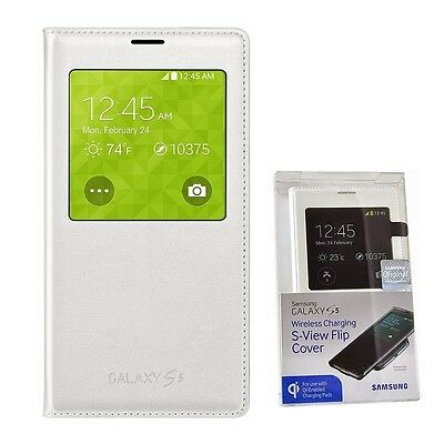 New Samsung Galaxy S5 Wireless Charging Case S View Flip Cover Folio - White OEM on Rummage