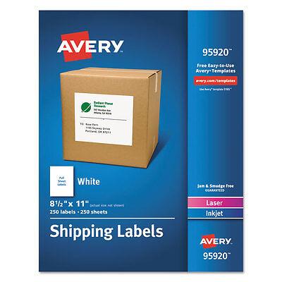 Avery White Shipping Labels Laserinkjet 8 12 X 11 White 250box 95920
