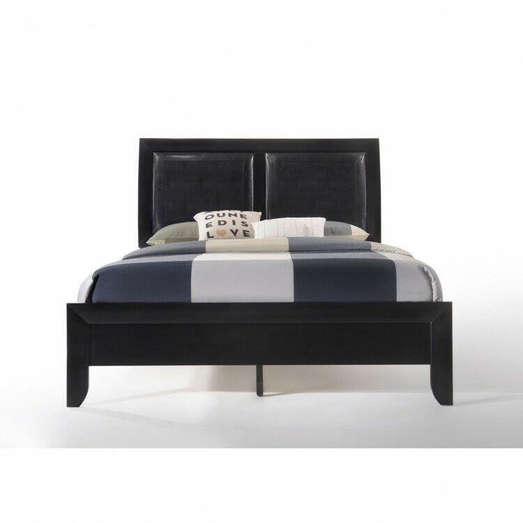 Queen Bed Wooden Black Bedframe Leather