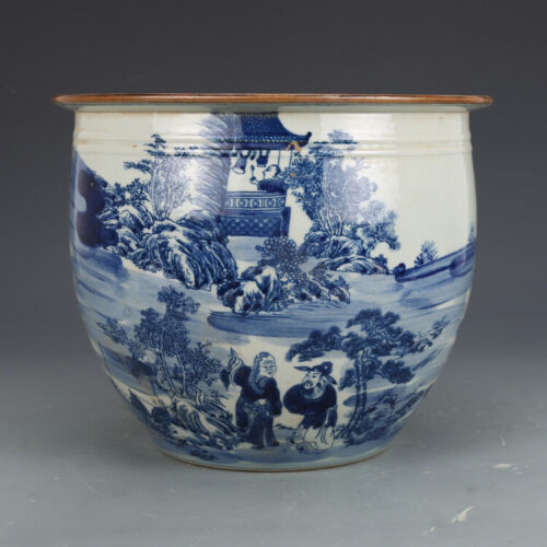 Nice Chinese Antique Qing XuanDe Blue&white Porcelain Figure Pot