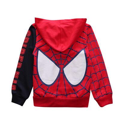 Boys Superhero (Boys Toddlers Superhero Spiderman Hooded Zipper Sweatshirt Kids Hoodies)