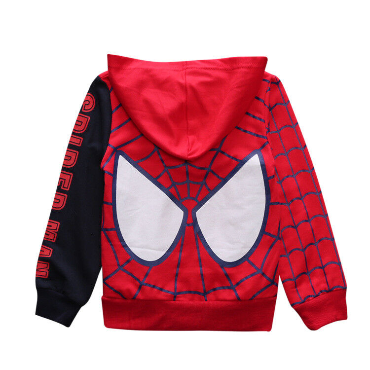 b1b074541 Boys Toddlers Superhero Spiderman Hooded Zipper Sweatshirt Kids ...