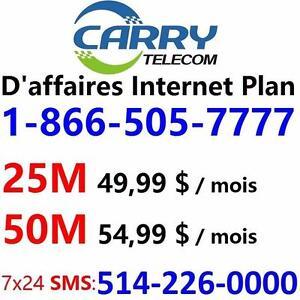 Meilleur Plan Internet D'affa:  50M illimité 54,99 $ ou 25M illimité 49,99 $ / mois. Veuillez composer le 1-800-576-1234