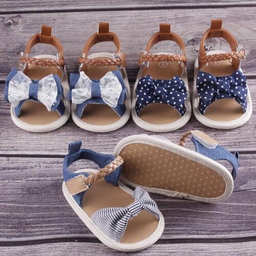 DE Säugling Baby Mädchen weiche Sohle Sandalen Kleinkind Sommer Schuhe Bowknot