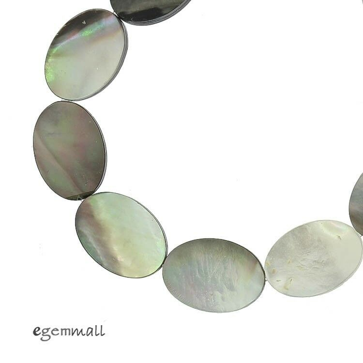 """16"""" Black White Mother of Pearl Shell Flat Oval Beads 12x16mm #75137"""