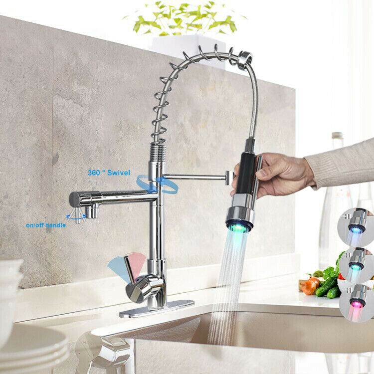 Chrome LED Kitchen Faucet Sink Swivel Mixer Tap Pull Down Sprayer With Cover