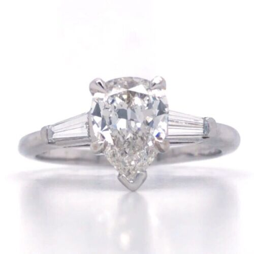1.40 CARAT H VS1 GIA CERTIFIED PEAR SHAPE DIAMOND ENGAGEMENT RING IN PLATINUM