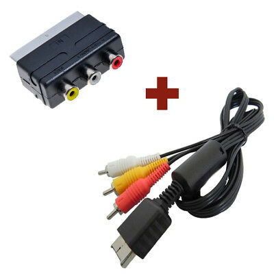 AV TV Kabel + Scartadapter SET für Sony PlayStation PS1 PS2 PS3 Chinch RCA Scart Ps3 Av-kabel