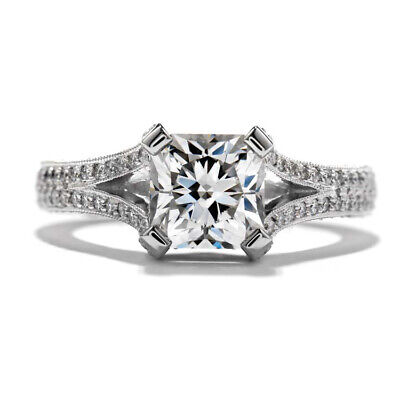 1.93ct GIA Certified Radiant Center Vintage Style Pave Engagement Ring 18K Gold