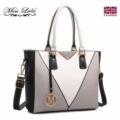 Women Ladies PU Leather Shoulder Handbag Tote Bag Patchwork V-Shape