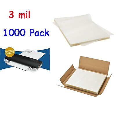 3 Mil Letter Size Clear Thermal Laminating Pouches 9 X 11.5 Sheets- 1000 Pack