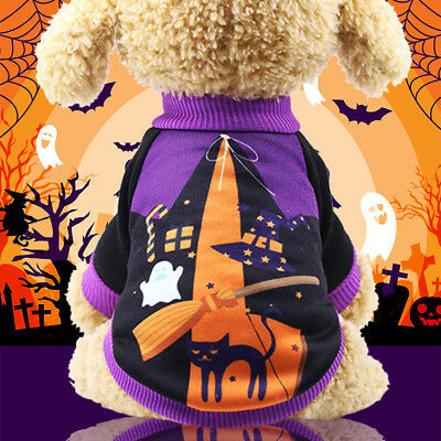 Funny Small Dog Halloween Costumes (Halloween Pet Small Dog Clothes Costume Funny Dressup Warm Jumper Winter)