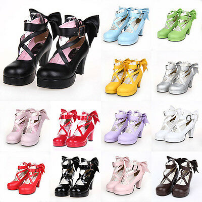 Gothic Lolita Rokoko Anime Girl Damen-schuhe Pumps Cosplay Kostüm Costume - Anime Girl Cosplay Kostüm