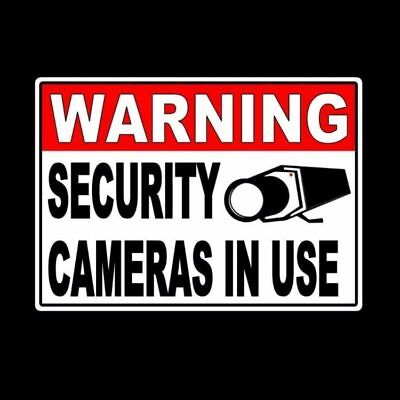 """Warning Security Cameras In Use Video Surveillance Sign Metal Sign 5"""" x 7"""" MS001"""