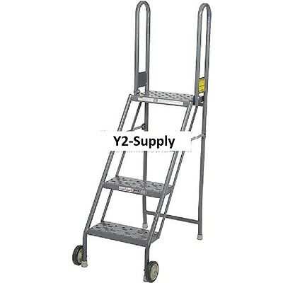 New 4 Step Folding Rolling Ladder Stand - Perforated Tread