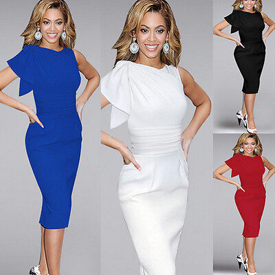 Damen Kleid Sommer Pencil Knielang Abendkleid Etuikleid Cocktail Ballkleid 36-50 online kaufen