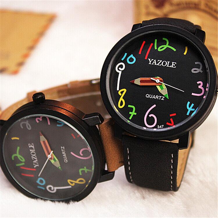 Damen Armbanduhr Analog Uhr - Quarz Armbanduhr Leder Schwarz Braun NEU