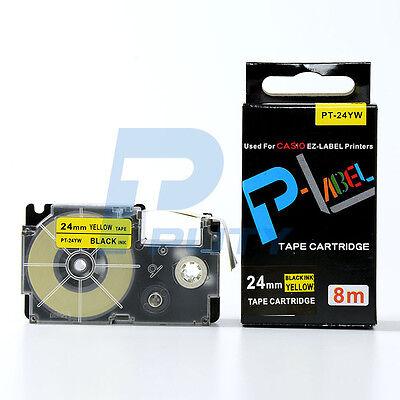 Compatible Casio Xr-24yw Black On Yellow Label Tape 24mm 8m 1 X 26 Xr-24yw1