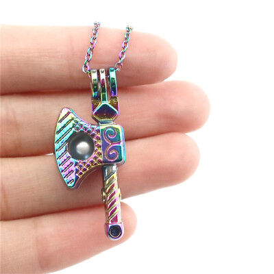 C633 Rainbow Axe Bead Cage Aroma Locket Necklace -Boy Brother Choker