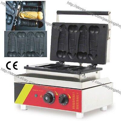 Commercial Nonstick Electric Hot Dog Pene Waffle Dog Maker Iron Machine Baker